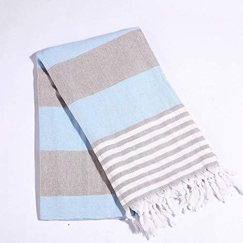 Katoen extra grote Turkse badhanddoek met kwasten reizen camping sjaal strand gym zwembad deken vrouwen winter sjaal 100x180cm, blauw, 100x180cm