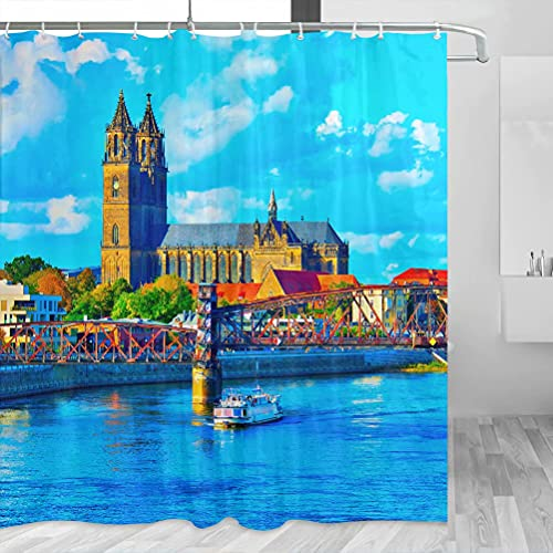 Deutschland Magdeburg Duschvorhang Reise Badezimmer Dekor Set mit Haken Polyester 183 x 183 cm (YL-02456)