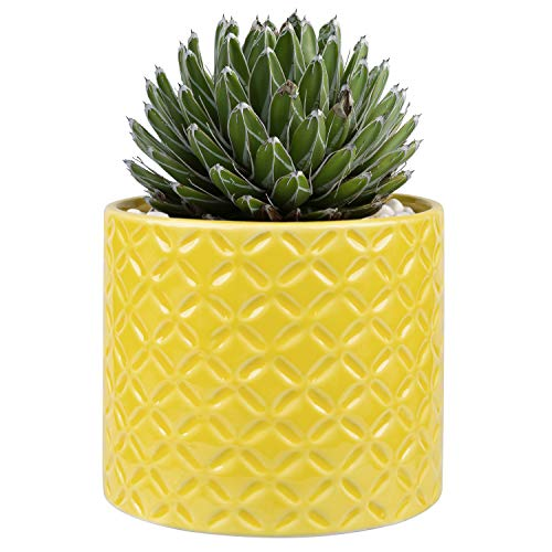5-Inch Yellow Ceramic Round Succulent Plant Pot, Small Flower Planter with Diamond Texture