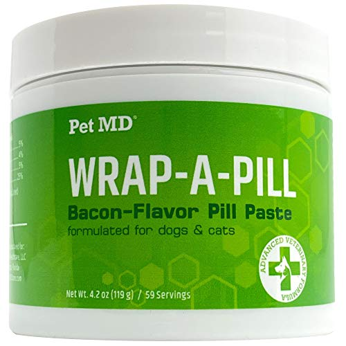 Pet MD Wrap A Pill Bacon Flavor Pill Paste for Dogs and Cats - Create a Pocket to Hide Pills and Medication - 59 Servings