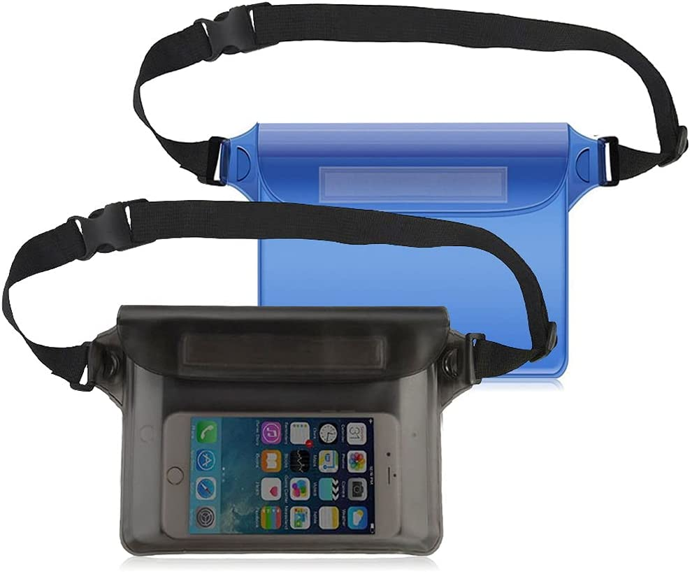 2 Pack Waterproof Pouch Fanny Pack, Waterproof Pouch Bag with Adjustable Waist Strap Screen Touchable Dry Bag for Swimming Diving Boating Kayaking, Blue Black