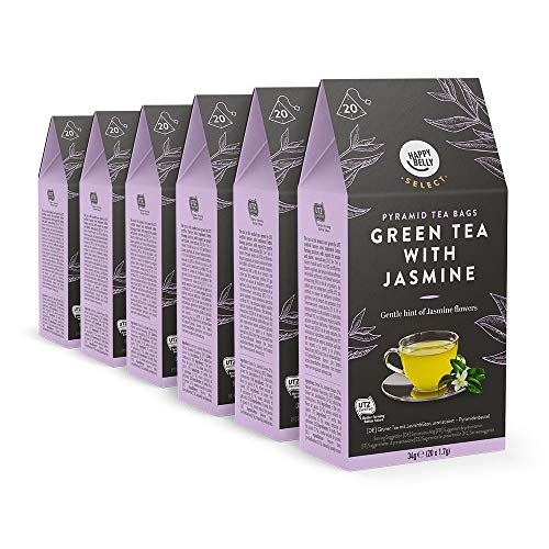 Marca Amazon - Happy Belly Select Bolsitas de té verde con jazmín 6 x 20 pirámides