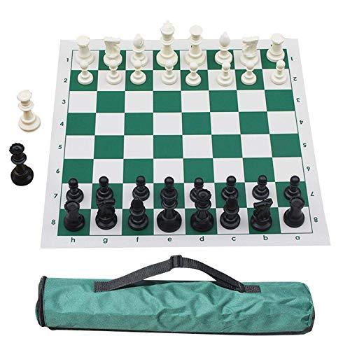 FEEE-ZC Juego de Tablero de ajedrez de Silicona, Juego de Tablero de ajedrez Duradero Plegable portátil para niños y Adultos, 51x51cm, Color Aleatorio