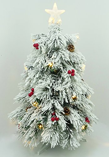 Christmas Concepts 3ft (90cm) Pre Lit Snow Frosted Fibre Optic Pine Christmas Tree With Cones, Red Berries And LED Lights