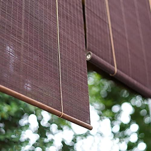 H.ZHOU Cortina de bambú Bambú ruede for Arriba Oculto de la Ventana Parasol, 60% Cortinas enrollables con luz Que se filtra Estilo de la Cortina Plana, for Gazebo toldo del Patio Balcón Parasol G5105