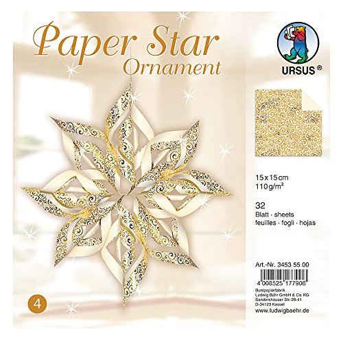 Ursus 34535500 - Paper Star Ornament 4, 4 Sterne, ca. 40 x 40 cm, gold