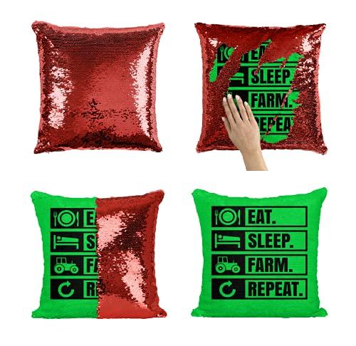 Eat Sleep Farm Repeat Life Evolution - Funda de almohada con lentejuelas (40 x 40 cm, incluye relleno)