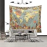 Tapiz, tapiz con patrón de mapa del mundo, tapiz de tela de...