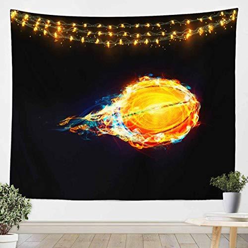 Loussiesd Tapiz deportivo para colgar en la pared, con bola 3D, para niños, adolescentes, dormitorio, manta de cama, color negro, tamaño mediano, 51 x 59