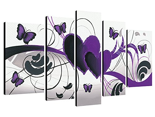 Wieco Art Purple Love Butterfly 5 Panels Modern 100% Hand Painted Stretched and Framed Abstract Romance Artwork Oil Paintings on Canvas Wall Art Ready to Hang for Home Decor 5pcs/set