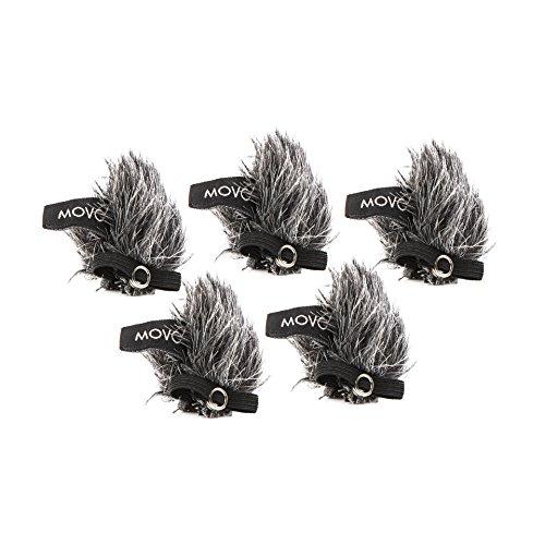 Movo ws-g10m universale con pelliccia per esterni, per tutti i microfoni Lavalier incluso Movo, Shure, Rode, Sony, Audio-Technica e altro ancora. (5pezzi), colore: grigio scuro