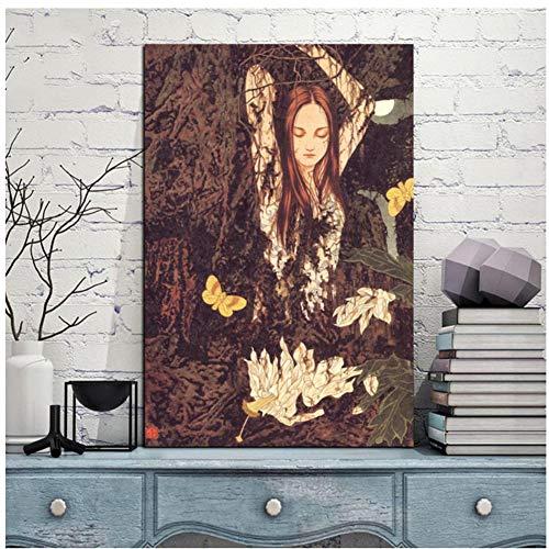 sjkkad jungle meisjes poster gedrukt moderne woonkamer decoratie canvas schilderij modulaire afbeeldingen muurkunstwerk -50x70 cm geen lijst