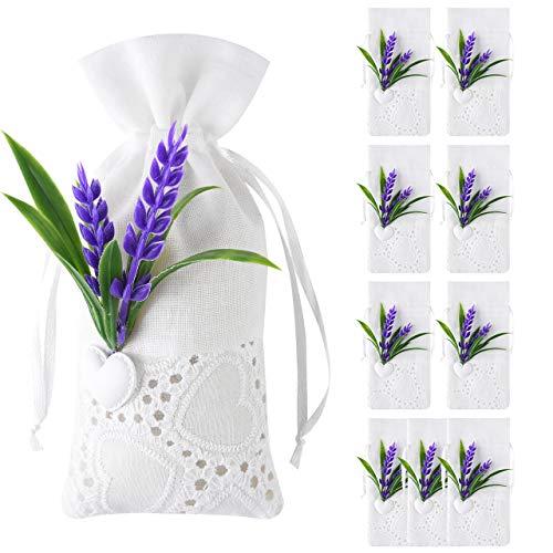 Pajaver 10 x Lavendel Beutel Lavendel Kordelzug Tasche, 15 x 7cm - Weiß