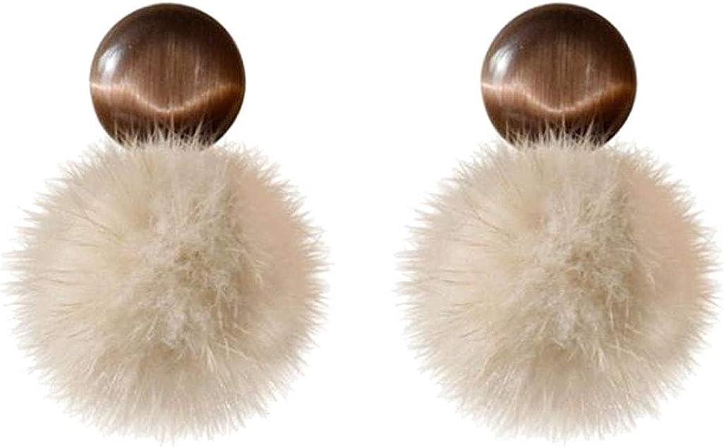 Pompom Balls Clip on Earrings for Women White Fluffy Poms Ball Fashion Dangle Resin Beaded Drop
