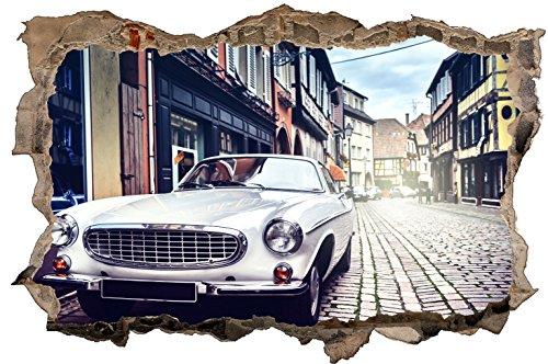 DesFoli Auto Car Oldtimer 3D Look Wandtattoo 70 x 115 cm Wanddurchbruch Wandbild Sticker Aufkleber D437