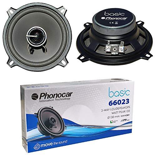 2 Altavoces Compatible con PHONOCAR Basic 66023 coaxial de 2 vías 13,00 cm 130 mm 5' de diámetro 30 vatios rms 60 vatios máx 4 ohmios 90 db, por par