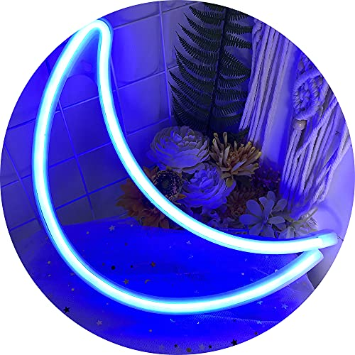 Moon Neon Lights│Neon Signs for Wall Decor USB or Battery Powered Led Sign for Bedroom Party Christmas - Neon Lights Signs as Gifts for Girls Teen Kids Friends (Blue)