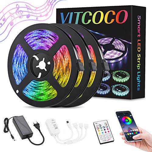 LED Streifen 12M VITCOCO Blue-tooth LED Strip Kit RGB 5050SMD 360 LEDs Farbwechsel selbstklebend LED Lichtleiste Sync mit Musik, mit 23 Tasten Fernbedienung +12V Netzteil für Haus, Party Dekoration