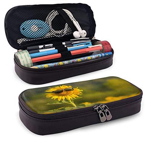 Estuche de piel con diseño de girasol y gafas de sol de gran capacidad para guardar lápices o lápices