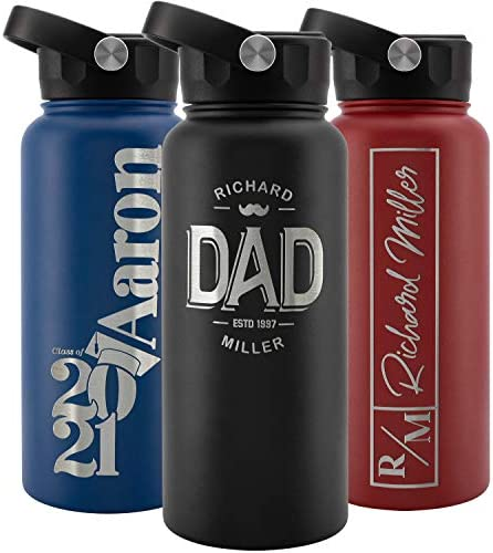 Personalized Water Bottle w Straw Lid Double Wall Insulated 32 oz 12 Designs Black 9 Color Custom product image