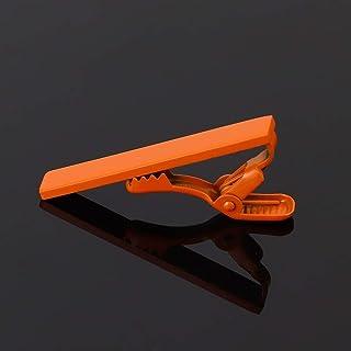 TMYQM 1 قطعة مشبك ربطة عنق ملون فضي ذهبي بسيط شريط مشبك عملي أسود كحلي أزرق للرجال قميص مجوهرات (اللون: برتقالي)