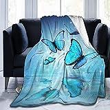 Manta de Felpa Suave Cama Mariposa sobre el Agua Manta Gruesa y Esponjosa Microfibra, Suave, Caliente, Transpirable para Hogar Sofá , Oficina, Viaje