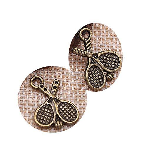 honggui1111-50 colgantes de raqueta de tenis de 18 x 14 mm para hacer joyas de raqueta de tenis (bronce antiguo)