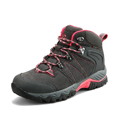 Clorts Women's Hiking Camping Boots Waterproof Breathable High-Traction Grip Backpacking Hiker Shoes HKM-822B US 8.5 Grey