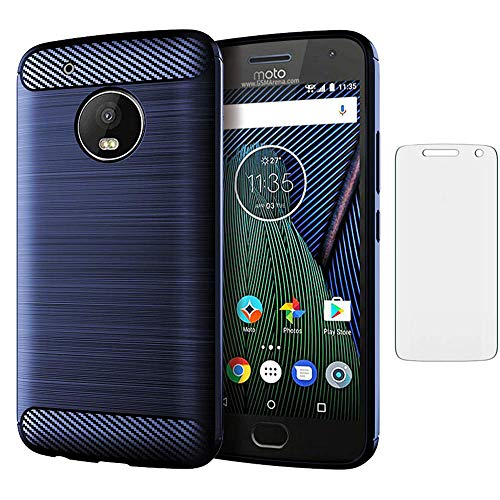Asuwish Compatible with Motorola Moto G5 Plus Case Tempered Glass Screen Protector Cover and Cell Accessories Slim Rugged Full Body Silicone Rubber Soft Phone Cases for MotoG5 G 5 5th Gen G5+ XT1687