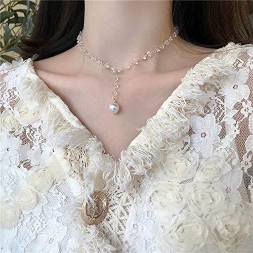 LLD Cadena de Doble Capa Gargantilla de Moda de Oro Linda Mujer romántica Collar Colgante de Perlas joyería de niña Collar Gargantilla de Novedad Collares, 9
