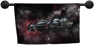 xixiBO Bath Towels for Sale W 39 x L 16(inch) Towel Swimsuit Shower,Galaxy,Spaceship in Interstellar Travel on a Galactic Starfield Alien Fantasy Science Fiction,Black
