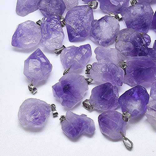 DanLingJewelry 20 pcs Natural Amethyst Healing Point Chakra Reiki Nuggets Pendants for Jewelry Making 15-40x10-20mm