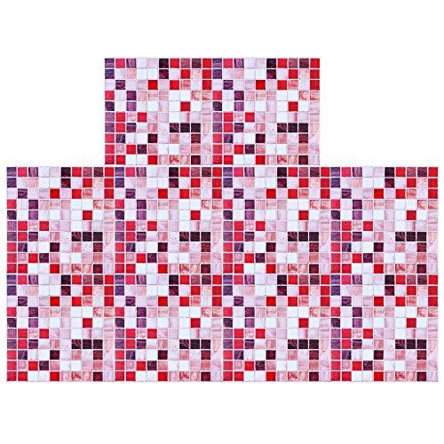 ShawFly 10-teilige Fliesenaufkleber, 3D-Mosaik-Küchen-Backsplash-Fliesenabziehbilder, Selbstklebende, abnehmbare Fliesentransfers für Küche und Bad DIY, wasserdicht und verschleißfest (Rotbraun)