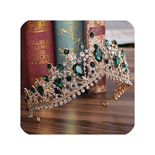 NATiaras de novia con diamantes de imitación, corona barroca de cristal plateado para diademas de novia o boda accesorios de vestido, Dorado, verde,