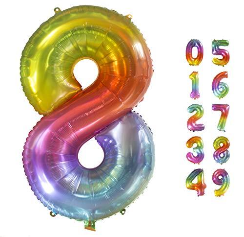 Globo Gigante Multicolor Numero de Cumpleãnos 8 I 101 CM Globo Años I Globo Numero 8 I Decoracion Fiesta Cumpleaños Niños I Globos Numeros Gigantes para Fiestas I Hinchar con helio o aire (Numero 8)
