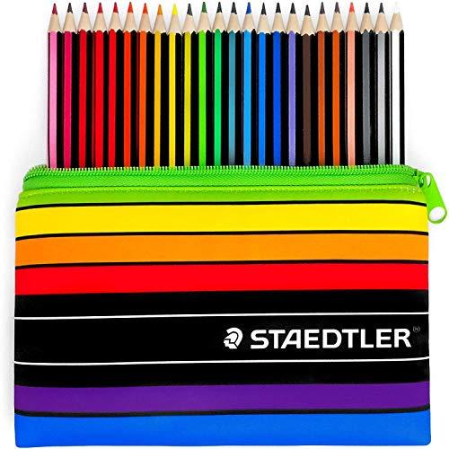 Staedtler 185 C24 Noris Color Wopex Buntstifte mit passendem Federmäppchen, 24 Stück