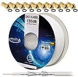 HB-dIGITAL 135 dB, 100 m de câble coaxial pour antenne satellite blindé 5 voies 4 k...