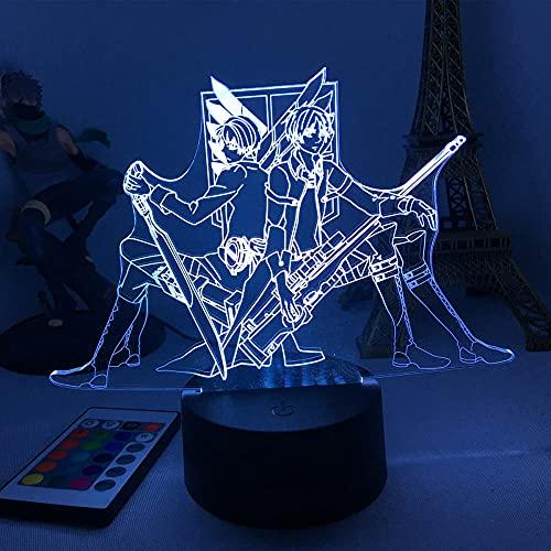 Lámpara de ilusión 3D Mood Led Luz de noche Anime Attack On Titan 4 Armin Arlertfor Decoración de dormitorio Cumpleaños Shingeki No Kyojin- 11_No Remote