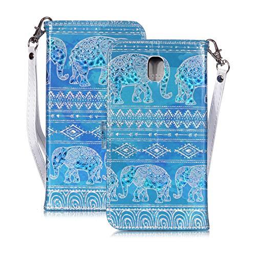 WIWJ Funda Samsung Galaxy J5 2017 Carcasa 3D Espejo Disney PU Piel Billetera Cuero Magnética Case Suave TPU Silicona Móviles con Tapa 360 Grados Doble Libro Flip Stand Plegable Cover-Elefante Azul