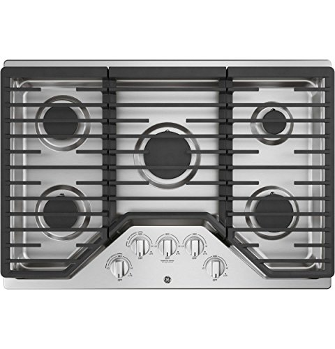 GE JGP5030SLSS 30 Inch Gas Cooktop with Power Boil, Simmer, Continuous Grates, 5 Sealed Burners and...