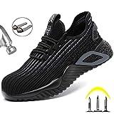 Meng Zapatos de Seguridad para Hombres ultraligeros Zapatos de Acero con Punta de Seguridad, Zapatillas industriales Transpirables y cómodas (Color : Black, Size : 39)