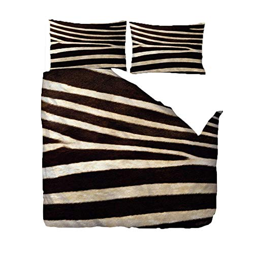 Duvet Cover 3D Print Double Bedding Quilt Cover Set 200x200 Cm White Brown Stripes With Zipper Closure Ultra Soft Microfiber Duvet Cover for Adult, Kids And Teens, With 2 Pillowcases