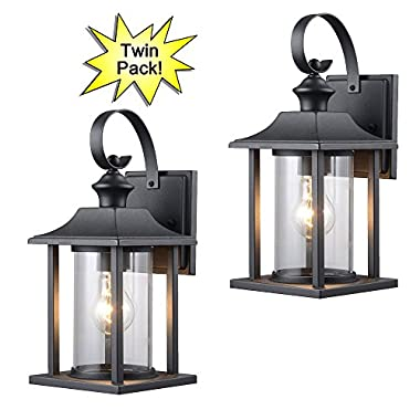 Designers Impressions 73478 Black Outdoor Patio / Porch Wall Mount Exterior Lighting Lantern Fixtures with Clear Glass - Twin Pack