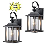 Hardware House 23-0414 Black Outdoor Patio/Porch Wall Mount Exterior Lighting Lantern Fixtures with Clear Glass - Twin Pack
