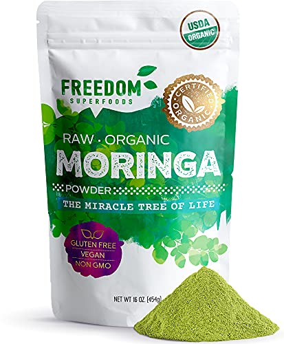 Organic Moringa Leaf Powder - Extra-Fine Quality - Raw Oleifera Tree Leaves from India - Best for Energy Boosting Smoothies and Tea - 1lb