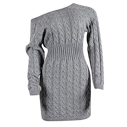 Damen Strickkleider Pulloverkleid Herbst und Winter Off Shoulder Midi Twisted Sweater Kleider Langarm Partykleid Knielang Herbstkleid Slim Fit Sexy...