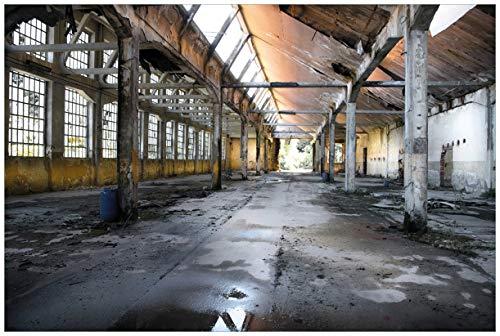 Wallario Poster - Alte Industriehalle, leerstehend und einsam in Premiumqualität, Größe: 61 x 91,5 cm (Maxiposter)