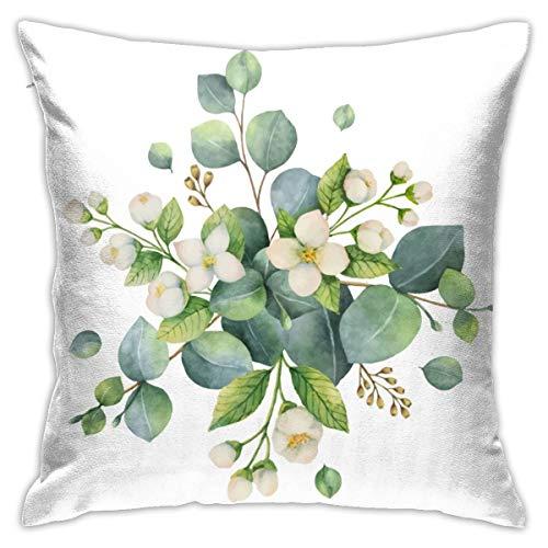 Fundas de Cojines Fundas de Cojines decoración Acuarela Vector Bouquet con Hojas y Flores de eucalipto Verde. en el sofá Cama de Coche 45X45 CM