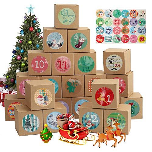 Ulikey 24 Calendario de Adviento, Cajas de Regalo, Bolsa de Regalo Navidad, Cajas de Calendario, Calendario Adviento con Adhesivos Digitales de Adviento, DIY Rellenar Calendario de Adviento (B)
