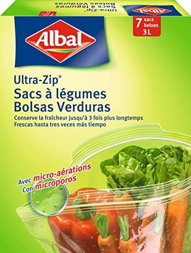 Albal 7bolsas para verduras, fondo plano, cierre ultra-zip, micro-aérations, 3L